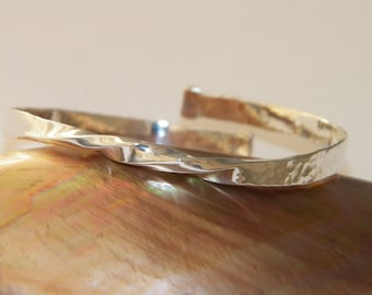 Hand Made Mobius Bangle Bracelet,925 Sterling Silver Handcrafted Open Adjustable