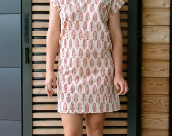 Essential Tunic Dress-handprinted motif, indian cotton