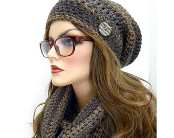 Winter Hat And Scarf  Set, Long Infinity Scarf, Brown Tweed Infinity Scarf, Matching Hat & Scarf Set, Woman's Winter Accessories