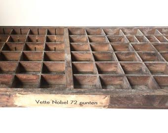 Dutch Printers Drawer Printers Tray Letterpress Drawer Nobel 72 Shadow Box Display Case