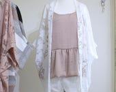 White Kimono / Summer Kimono / Loungewear / Floral Kimono / Kimono Jacket / Beach Cover Up / White Floral Kimono