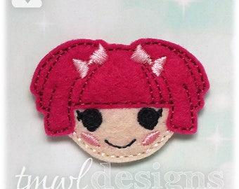 "Rag Doll Head Feltie Digital Design File - 1.75"""