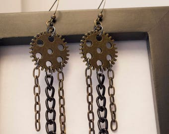 Multi Chain Gear Steampunk Earrings
