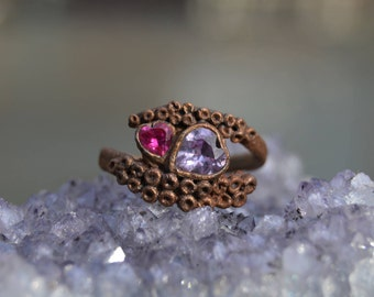 Cthulhu's Embrace- Handemade Sterling Silver and 18K Rose Gold Engagement Ring