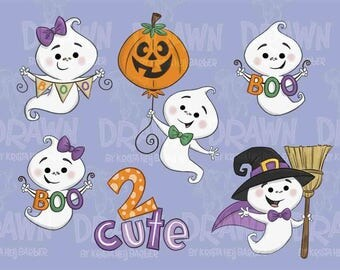 Halloween Cute Ghost Clip Art-Set of 6-*NO EMBROIDERY USE allowed for this set
