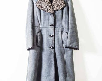 70s Blue Sheepskin Coat  -  Incredible Vintage 1970s Coat  - Hippie  -  Boho  -  Winter  -  UK 10  - Long Sheepskin Coat  - Shearling -  70s