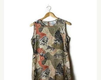 ON SALE Vintage Zebra/Cheetah/Lion Safari Motif Pure Silk Sleeveless Casual Dress from 1980's*