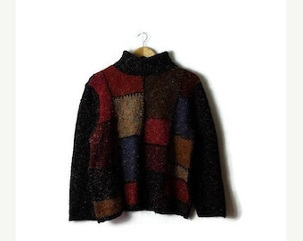 Clearance SALE 40% off Vintage Color Blocked  High neck Acrylic Sweater from 90's*
