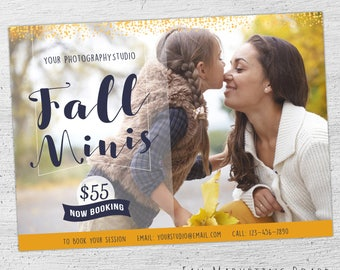 Fall Mini Session Template, Fall Photography Marketing Board, Fall Mini Template, Autumn, Photoshop Template for Photographers - 07-006