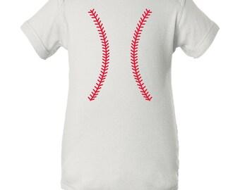 Baseball Team Colors Creeper - White/Red