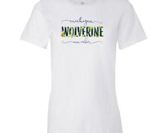 Michigan Wolverines Floral Ladies Lightweight T-Shirt - White