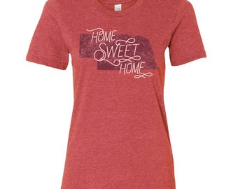 Nebraska Home Sweet Home - State Pride Womens Ringspun T Shirt - Heather Red