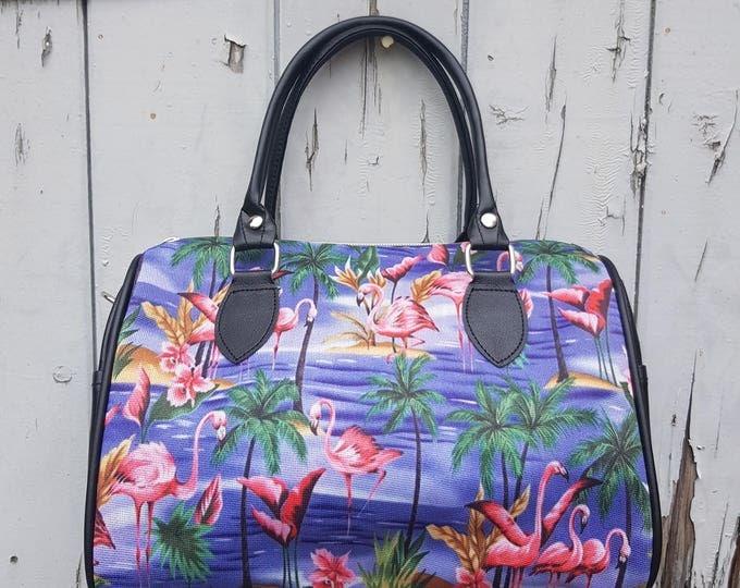 Blue Tropical Flamingo Handbag - Island Holiday Summer Palm Tree Bag Bowling