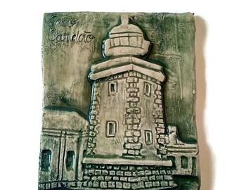 Ceramic lighthouse tile with low relief, decorative ceramic tile coaster, mosaic tile, art tile, kitchen decor, green lighthouse tile
