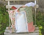 Market Tote Bag, Prairie Chic Large Shoulder Bag in Pink and Green with feedsack fabric and vintage linens