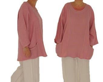IA900RA ladies tunic blouse linen vintage size 46 48 50 52 portable pink