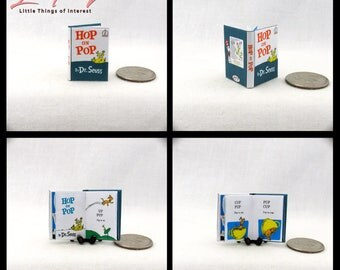 HOP ON POP Miniature Book Dollhouse 1:12 Scale Illustrated Readable Dr. Seuss Dolls House Scale 1 Inch Scale