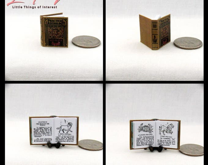 PRACTICAL ASTROLOGY Miniature Book 1:12 Scale Dollhouse Book Illustrated Readable Zodiac Wheel Signs Birth Chart Fortune Teller Gypsy
