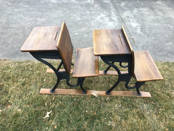 Early century wood school desks, double desks from the early century, ASCo5, hard to find double wooden desks, desk decor, desk tables