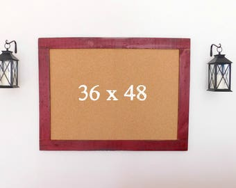 36 x 48 FRAMED CORK BOARD - Bulletin Board - Home Office Decor - Shown in Vintage Red - 36 x 48 - Many Color Choices