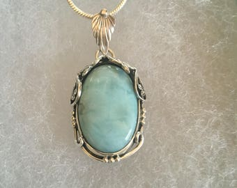 Larimar Gemstone Pendant set in a sterling silver design