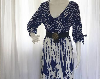 Navy and White Full-Length Goddess Summer Dress with 3/4 Sleeves and Bows