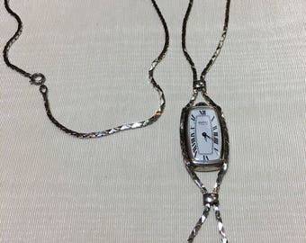 Gucci Sterling Silver Watch Necklace with Lapis Lazuli Beads