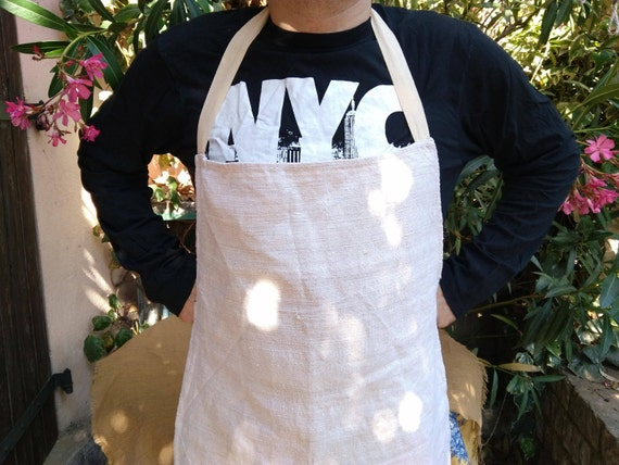Unused Rustic Linen Apron Beige Full Kitchen Apron Handmade For Men and Women Cooking Crafting #sophieladydeparis
