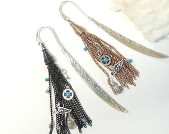 Steampunk Tassel Bookmark You Choose Black or Copper Tassel, Metal Bookmarks, Shepherds Hook Bookmark, Steampunk Gift