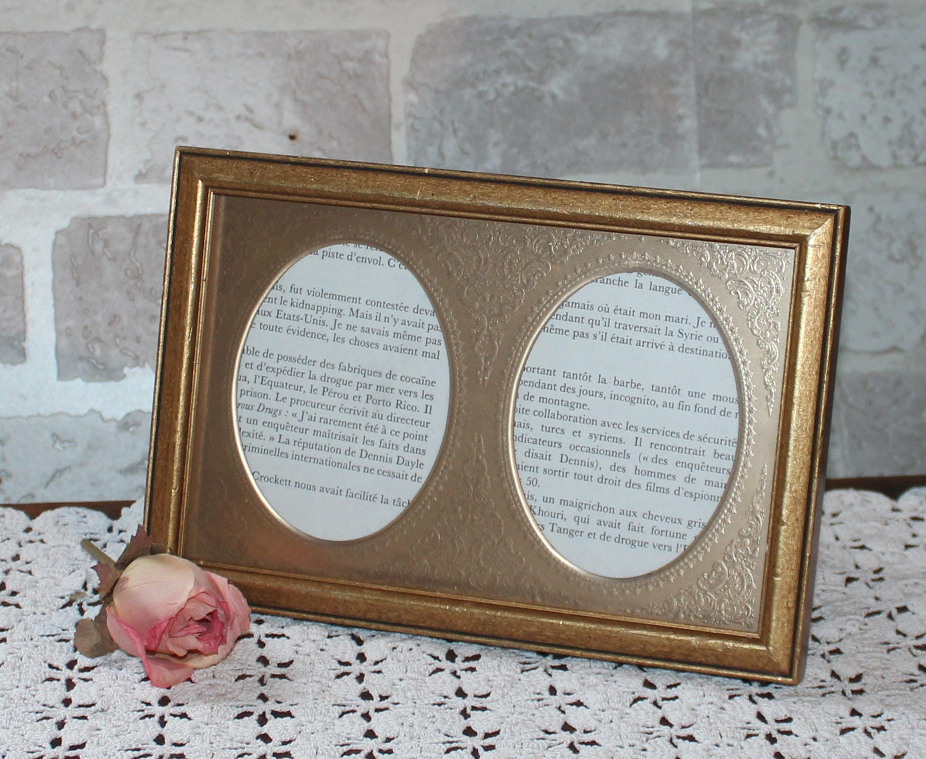 8 x 5 inch wood picture frame with double oval embossed metal mat sold by prettydish jeuxipadfo Image collections