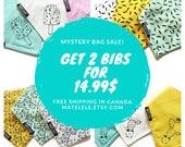 CLEARANCE SALE, Grab Bag, Mystery bag, Bibs chosen at random 1,2, 3,4 or 5 Baby bandana bibs, Drool bib, Dribble bib, bibdana, free shipping