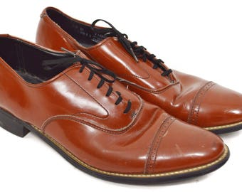 Vintage 80s Patent Leather Brown Wingtip Dressy Shoes Sz 10