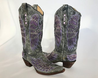 Corral Womans Western Boots Fancy Tall Leather Gray Purple Wings Laser Cut Size 10