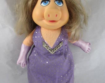 "Miss Piggy Dressed Up Doll 13"" Vinyl Plush 1980s"