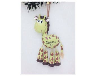FREE SHIPPING Giraffe Personalized Christmas Ornament - Zoo Animal Ornament - Hand Personalized Christmas Ornament