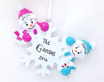 2 Snowmen and Snowflake Personalized Christmas Ornament / Personalized Christmas Ornament / Couple Ornament / Twins Ornament