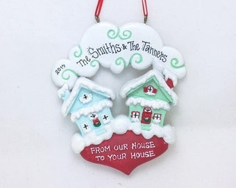 From Our House to Yours Personalized Christmas Ornament / New Home Ornament / Home for the Holidays / Neighbor Ornament