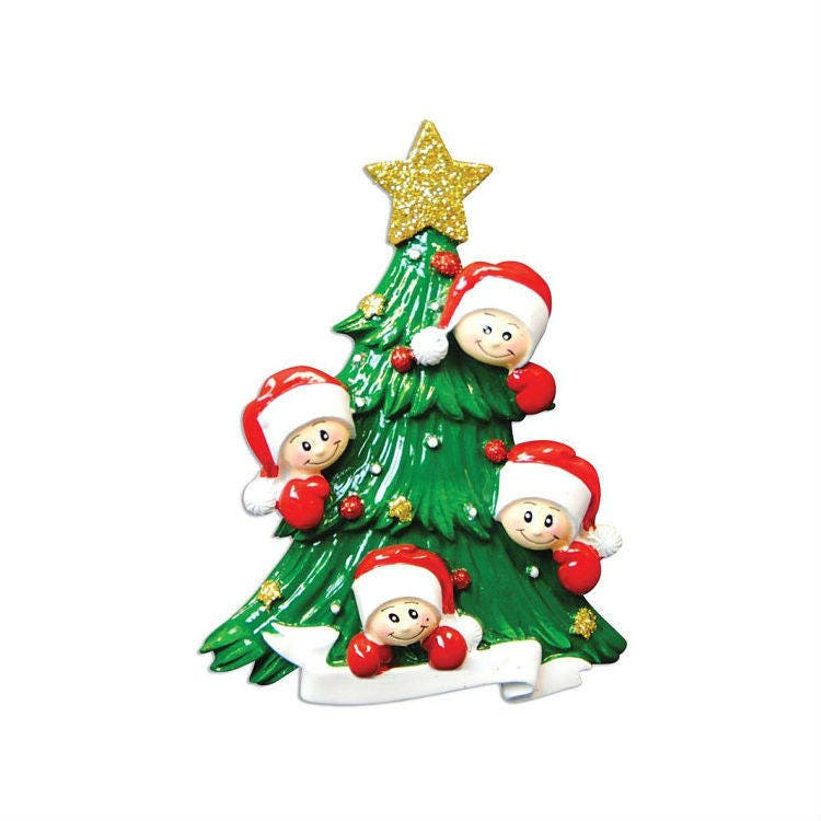 4 happy faces christmas tree personalized christmas for Family of 4 christmas ornament