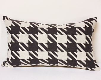 Checker pillow, Off white and black lumbar pillow, checker lumbar pillow, black and white pillow, christmas pillow