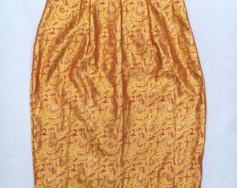 Gold Silk Mix Pencil Skirt UK size 6-8 floral print slim flattering vintage style skirt handmade by The Emperor's Old Clothes