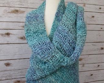 SALE 30% OFF Aqua Blue and Purple Knit Shawl - Elegant Waterfall Shawl - Hand Knit Lace Wrap - Blue Green Shawl - Blue Fringed Shawl - Weddi
