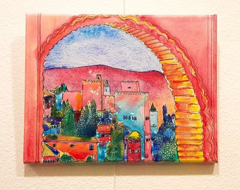 Alhambra Painting: Alhambra View - Original Painting on Canvas