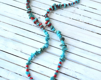 Turquoise Cross Necklace- Turquoise and Red- Beaded Necklace- Long Boho Necklace- Long Necklace- Boho Necklace- Boho Jewelry- Gift for Her