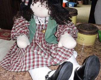 Vintage Life Size Doll Girls Doll Mary Margaret Handmade Toddler Doll Plaid Dress Black Calliope Shoes Brunette Doll