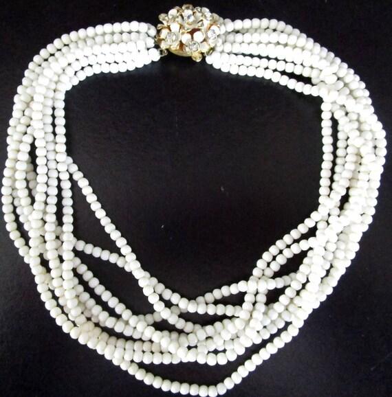 Signed Sandor White Milk Glass Multi Strand Beaded Floral Clasped Vintage Necklace