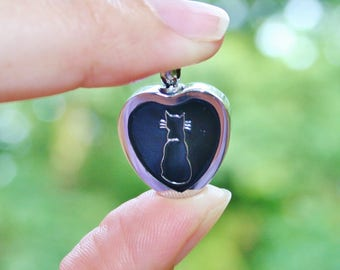 Urn Cat Heart Cremation PENDANT or NECKLACE Holds Cremains Ash Locket Kitten Kitty Loss In Memory of Beloved Pet Memorial Gift Grief Black