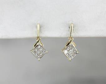 Square Diamond Cluster Drop Earrings MEWAPU-R