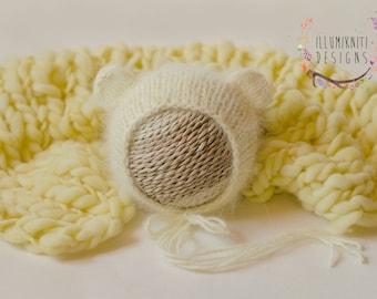 Pastel Yellow Bear Bonnet - Knit Angora Bear Bonnet - Butter Yellow Mini Blanket - Bear Bonnet and Mini Blanket Set - Newborn Bear Bonnet