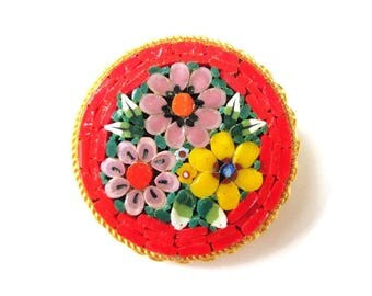 Italian Micro Mosaic Pin/ Round Orange Micromosaic Brooch/ Pink Floral Gold Tone  / Yellow Flowers Roped Bezel