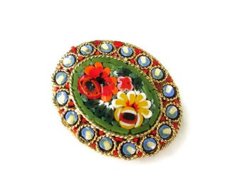 Italian Micro Mosaic Pin/ Oval Green Micromosaic Brooch/ Red Floral Gold Tone  / Yellow Flowers Roped Bezel  Pin
